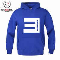 Wholesale Eminem Sweatshirts - 2016 Winter E LETTERS Men's Fleece Hoodies Eminem Printed Thicken Pullover Sweatshirt Men Sportswear Fashion Clothing