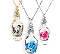 Wholesale Tear Bottle Necklace - Womens Love wishing bottles Pendant Necklaces Alloy Crystal Fashion Austria Drill Popular Jewelry Necklace Angel Tears Jewelry Free Shipping