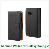 Wholesale Case Cover For Galaxy Young - 1PCS Fashion Black Genuine Leather Stand Pouch Skin Mulit Stand Covers Case for Samsung Galaxy Young 2 G130 Cellphone Bags Free
