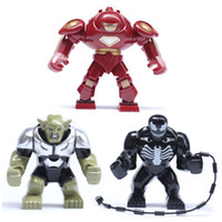 Barato Super Heróis De Ferro-3pcs / Lot Big Figures 0181 0182 0183 Super Hero The Avengers Iron Man / Venom / Green Goblin Building Block Toy Compatível