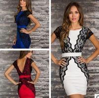 Wholesale Mini Short Dress Lingerie - Red Blue White sexy underwear Sexy lingerie, M L XL Women short Sleeves clubwear dress Polyester fiber club dress