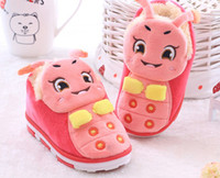 Wholesale Girls Home Shoes - Wholesale-Cartoon slippers lovers home slipers winter home shoes for boys and girls house shoes home lovely slippers