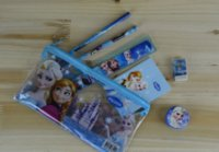 Wholesale Stationery Items For Gift - Frozen Kids learning items elsa anna stationery set for Students children Pencil cases Bags+ Ruler+ Pencils+notebook+sharpener+ Eraser