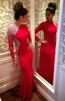 Wholesale Evening Dress Sheath - 2016 Cheap Bling Crystal Beaded Black Long Sleeves Sheath Evening Dresses Jewel Neck Sweep Train Prom Party Gowns Arabic Sparkle Rhinestones