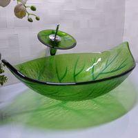 havza sayacı toptan satış-Banyo temperli cam lavabo el sanatları tezgah üstü yaprak şeklinde havza yıkama havzaları vestiyer şampuan gemi HX015