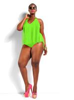Wholesale Neon Padded Bikinis - 2015 Swimwear Plus Size Women Sexy One Piece Swimsuit Fringe ST. TROPEZ Neon Green Bikini Halter Bathing Suit Padded Monokini SW300