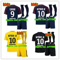 Wholesale Lucas Red - AAA+ 2017 kids kits+sock NEYMAR JR soccer jersey 17 18 MBAPPE CAVANI MARQUINHOS LUCAS DI MARIA MATUIDI DANI ALVES Children football shirts