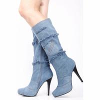 Wholesale Roman Leg - Denim Jean Boots For Women Shoes Platforms Pumps Suede Boot Leg Rhinestone Thin High Heel Shoes Women Boots New Arrival 2015 Designer Pumps