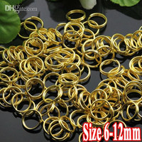 Wholesale Jewelry Connectors Pieces - 500G PIECE Wholesale Gold Plated IRON Based 6mm 8mm 10mm 12mm Double Loop Split rings Open Jump Findings for Jewelry Making