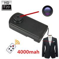 Wholesale Big Camcorder - 4000mA Big Battery 720P H.264 MOV Mini Covert Hidden Button Camera DVR Camcorder, Remote Control Body Worn Camera Mini Button with Camera