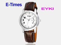 Wholesale Eyki E Times - White & Coffee Female EYKI E-Times Leather Wrist Quartz Lover's Watch,Freeshipping