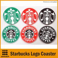 mesa redonda negra al por mayor-Decoración de la mesa Starbucks logo Mermaid coaster de silicona redondo platemat taza taza de café estera almohadilla negro rojo verde Envío gratis