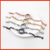 Wholesale Glass Locket Bracelet Chain - Round magnetic glass floating locket bracelet heart link chian Living Memory Locket Bangles DIY jewelry for women 160797