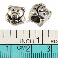 Wholesale Antique Pig - antique silver pandora beads jewelry bracelet european charms diy double pig big hole metal wholesales craft jewelry accessories 10mm 200pcs