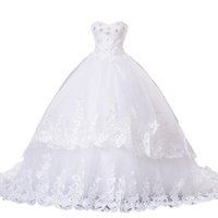 Wholesale Babyonline Wedding Dresses - real photo ball gown wedding dress crystal beads applique lace sweetheart court train floor length Babyonline wedding gown dresses fast ship