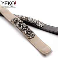 Wholesale Chinese Model Men - YEKO fashion wild flowers carved Chinese style metal buckle stretch elastic belt ladies autumn and winter models