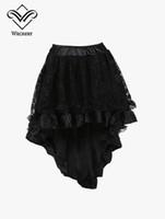 Wholesale Tulle Bustle - Steampunk Skirt Bustle Black High Low Skirts Tutu Saias Tulle Skirt Lace Jupe Corset Skirts Saia Midi Elastic Waist Evening Party