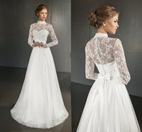 Wholesale Simple Elegant Cheap Ball Gowns - Elegant Sexy Plus Size Sheer Wedding Dresses Long Sleeve 2015 Cheap Vintage Bridal Dress Tulle Party Ball Gowns Romantic Simple Lace Dress