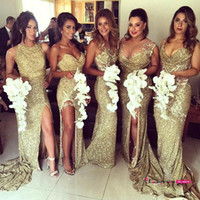 Wholesale Different Sexy Evening Dresses - 2017 Gold Sexy Sequins High Slit Mermaid Bridesmaid Dresses Sequins Backless Different Neckline Elegant Long Prom Evening Gowns Bling Bling