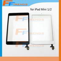 ipad mini lentes venda por atacado-10 pcs para ipad mini 1 2 touch screen digitador assembléia com botão home ic branco preto lente frontal de vidro substituição parte navio livre