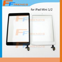 Wholesale Ipad Glass Digitizer Replacement - 10PCS For iPad Mini 1 2 Touch Screen Digitizer Assembly with Home Button & IC White Black Glass Front Lens Replacement Part Free Ship