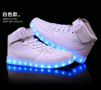 Led Luminous Shoes online - 2016 HOT fashion Unisex Men and Women Fashion 7 Colors LED Lighted Shoes Lace Up High-top Casual Sneakers sport luminous shoes