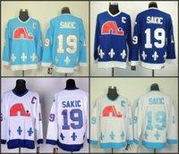 Wholesale Vintage Stop Light - Vintage Quebec Nordiques Hockey Jerseys 19 Joe Sakic Jersey Home Light Blue Throwback Cheap Joe Sakic Stitched Jersey C Patch