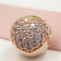 Wholesale glass cube clips - 925 Sterling Silver & Rose Gold plated Pave Heart Clip Bead with Clear Cz Fits European Jewelry Bracelets & Necklaces Necklaces & Pendants