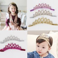 Wholesale Crown Pink Hair - 2016 Childrens Accessories Glitter Crown Headbands for Babies Girls Korean Jewelry Infant Elastic Hair Bands Kids Baby Birthday Headwear