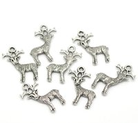 Wholesale Ornaments For Christmas Make - Free Shipping Wholesale Lots Silver Tone Christmas Reindeer Charm Pendant 24x19mm For Jewelry Making party decoration