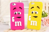 Wholesale Silicone Iphone 4s Covers - For iphone4 4S 5 5S 6 6plus Silicon Case Cartoon M&M Defender Candy Rainbow Beans Smile Soft Silicone Case Samsung Galaxy S4 S5 Note4 Cover