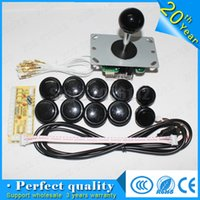 Atacado- Novo codificador USB para PC Joystick Games + Sanwa Original JLF-TP-8YT Rocker + 10x Push Buttons para Arcade DIY Kits Parts KOF