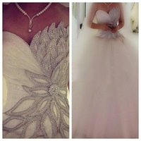 Wholesale Hot Elegant Beaded Cap Sleeves - New Arrival Elegant Tulle Princess Wedding Dresses 2015 Crystal Custom Made Long Floor Beaded Gorgeous Bridal Ball Gowns Fashion Hot style
