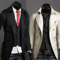 Wholesale Trenchcoat Dress - Fall-Quality fashion mens turn down collar SPECIAL long design trench   casual double breasted trenchcoat wind dress coat jacket