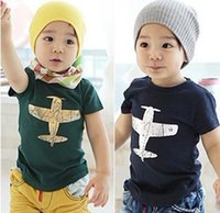 Wholesale Planes Shirts - Summer Boys New Clothes Children Fashion Tees Shirts Short Sleeved Cotton Plane Printing aircraft T Shirts 2 color B001