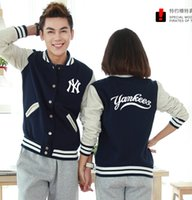 Wholesale Women S Wear Fabric - Fall-top quality thick fabric hiphop men women new york baseball jacket coat , fashion NY coat wear winter