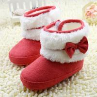 botas de inverno neve bebê menina vermelha venda por atacado-Cor vermelha Bowknot Sapatos de Bebê Botas de Neve de Inverno de Ano Novo Natal Da Criança Da Menina Sapatos Infantis de Inicialização Quentes 11-12-13 6 par / lote WD466