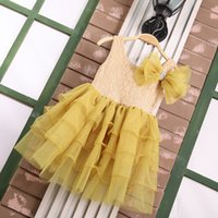 Wholesale Wholesale Yellow Tulle - Baby Girls Tulle Lace Dresses Girl Party Dress Kids Girl Princess Bow Cake Dress 2016 Babies Children's Summer Wholesale Clothing