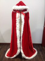 Wholesale warm jacket long cheap for sale - Beautiful Fall Winter Fur Bridal Coat Wraps Jackets with Hat Cheap Bridal Wraps Warm Newest Long Wedding Cloak Capes Bolero