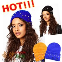 Wholesale Jelly Hat - Wholesale-2015 New Fashion Autumn and winter knitted jelly fluo men's hat plastic rivets women's cap 15colors Free Shipping F4189