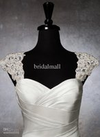 Wholesale Navy Blue Beaded Shawl - Romantic Exquisite Beaded Detachable Cap Sleeve 2015 Lace Wedding Dress Bolero Wedding jacket Straps Custom Made Bridal Accessories ZY2041