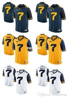 Maglia da West Virginia Mountaineers Will Grier 7 Daryl Worley 7 Gold Blue White