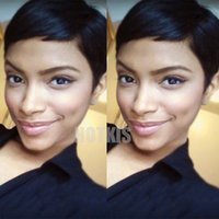 Wholesale Cheap Celebrity Lace Wigs - Celebrity Cheap Pixie Cut Brazilian Human Hair Very Short Wig Natural Black Human None Lace Guleless Wig For Black Women Wigs