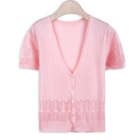 8c692723f93 Wholesale- Summer Style Knitted Cardigan Sweater New Fashion Women Short  Sleeve Lace O-Neck Crochet Casual Sweater Cardigan Coat