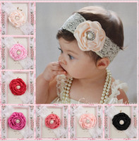 Wholesale Kids Bow Hair Band - 2015 Infant Flower Pearl Headbands Girl Lace Headwear Kids Baby Photography Props NewBorn Bow Hair Accessories Baby Hair bands F117B9