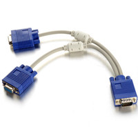 Wholesale Monitor Y Splitter - 6 Inch 1 Male To 2 Dual Female PC VGA HD15 Monitor Y Splitter Adapter Cable F1741 W0.5 SUP5