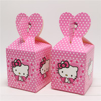 Wholesale Movie Candy - Wholesale- 12Pcs Baby Shower Gift Candy Favor Box Hello Kitty Cartoon Kids Girls Birthday Party Decoration Paper Movie Snack Bag Supplies