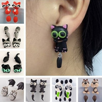 New Design Handmade Polymer Clay Olhos amarelos Cat Animal Stud Earrings para mulheres Fox Lovely Panda Ear Stud Jewelry Wholesale