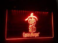 luz de barra de neón capitán morgan al por mayor-b-17 Captain Morgan Spiced Rum Bar NR 7 color LED Neon Light Sign