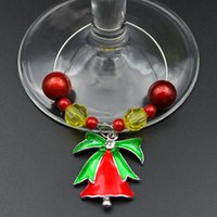 Wholesale Wineglass Charm Rings - 12pcs lot Wedding Party Table Wineglass Beads Ring Chain With Jingle Bell Banquet Drink Bottle Charm Ornament wj020